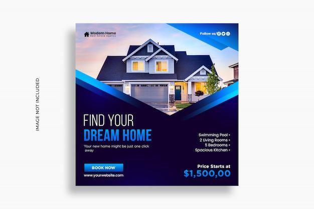 Real estate социальные медиа пост и веб-баннер шаблон премиум psd
