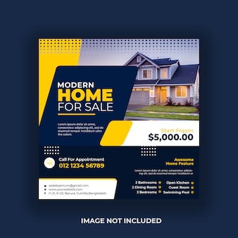 Real estate social media post banner template