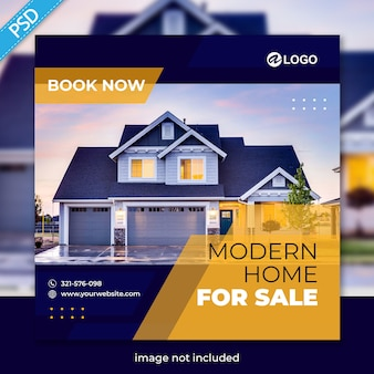 Real estate for social media post banner template