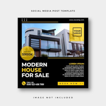 Real estate social media post or square web banner advertising template