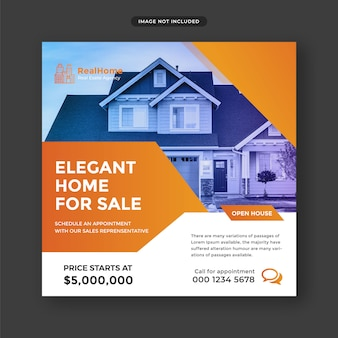 Real estate social media post and web banner template