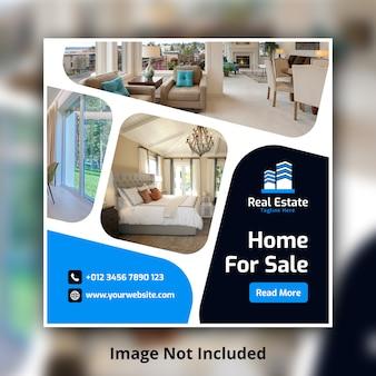 Real estate social media square banner template