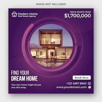 Real estate social media square flyer