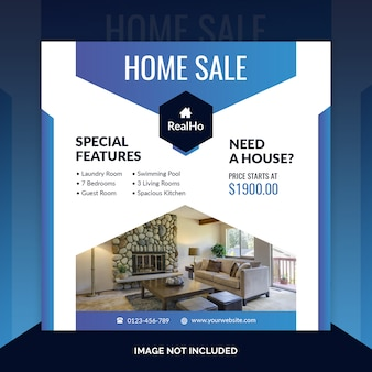 Real estate square banner template