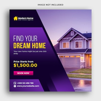 Real estate web banner and social media post premium psd