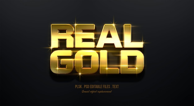 Real gold 3d text style effect