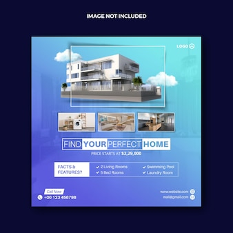 Шаблон веб-баннера realestate house property facebook post или squire home реклама