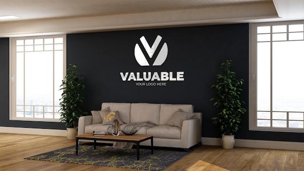 Реалистичный 3d-макет стены с логотипом в зале ожидания современного офиса