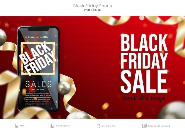 밝은 빨간색 배경에 현실적인 3d 검은 금요일 전화 목업