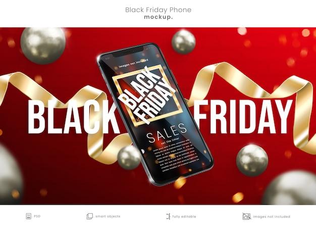 Realistic 3d black friday phone mockup
