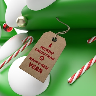 Realistic 3d christmas and new year 3d rendering tag mockup