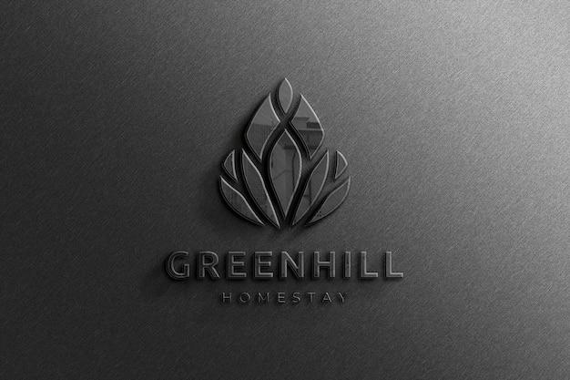 Realistic 3d company black glossy logo mockup with reflection