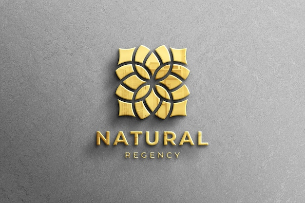 Realistic 3d company golden glossy logo mockup with reflection