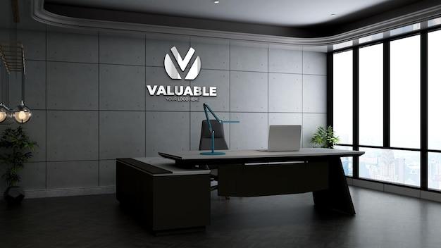 산업 디자인 인테리어가 있는 사무실 관리자 공간의 현실적인 3d 회사 로고 모형