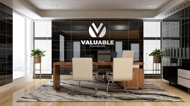 고급 디자인 인테리어가 있는 사무실 관리자 공간의 현실적인 3d 회사 로고 모형