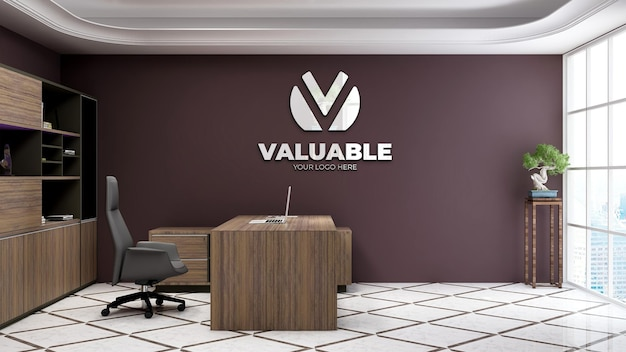 豪華なデザインのインテリアとオフィスマネージャースペースで現実的な3d会社のロゴのモックアップ