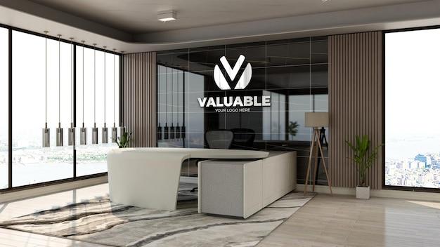 고급스러운 디자인 인테리어가 있는 사무실 프론트 데스크 영역의 현실적인 3d 회사 로고 모형