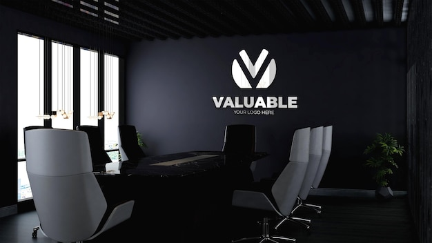 Realistic 3d company logo mockup in modern office meeting space