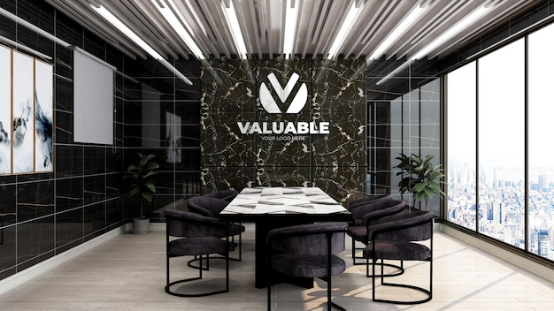 Realistic 3d company logo mockup in office business meeting room