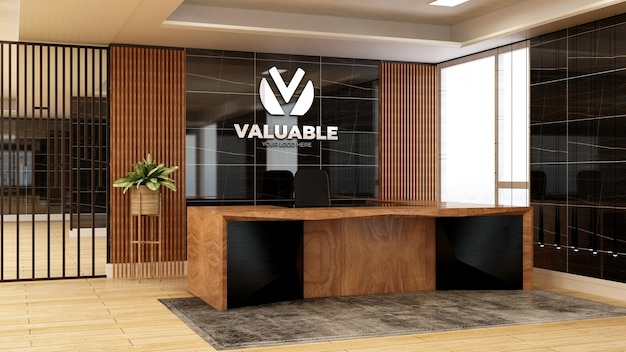 Realistic 3d company logo mockup in the wooden office receptionist room luxury desing interior