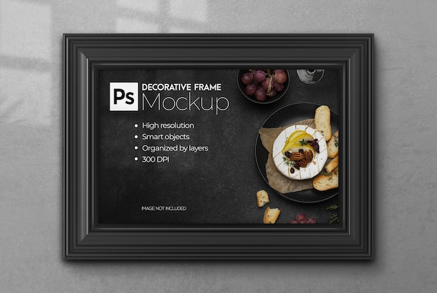 Realistic 3d decorative frame mockup with wall poster in interior
