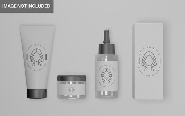 Реалистичный набор косметических макетов 3d-дизайна