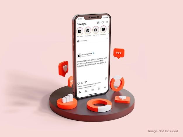 현실적인 3d 요소 인스타그램 홈 화면 미리보기 스마트폰 목업 프리미엄 psd