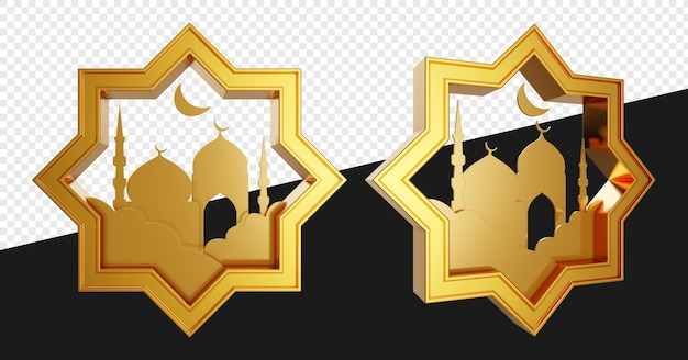 Realistic 3d emblem of gold octagram shapes with mosque isolated