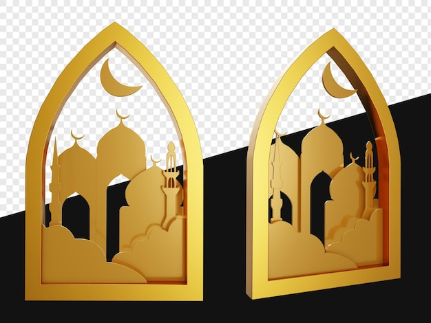 Realistic 3d emblem of gold shapes with mosque isolated