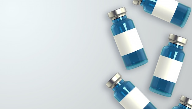 Realistic 3d glass ampoules with medicine background
