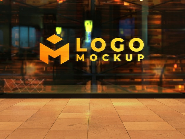 Realistic 3d glass window logo mockup