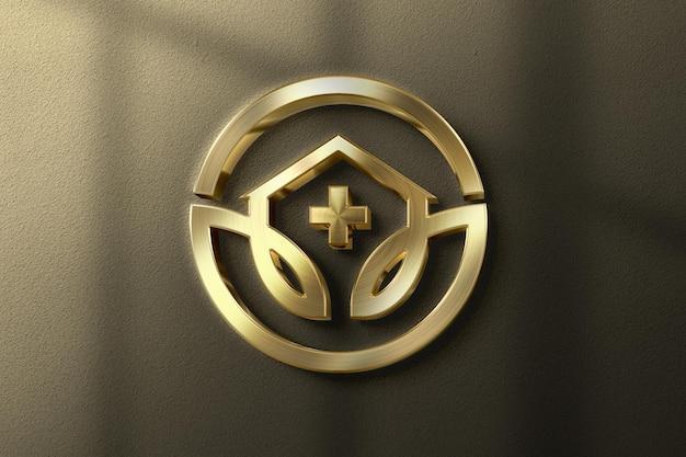 Realistic 3d gold logo mockup