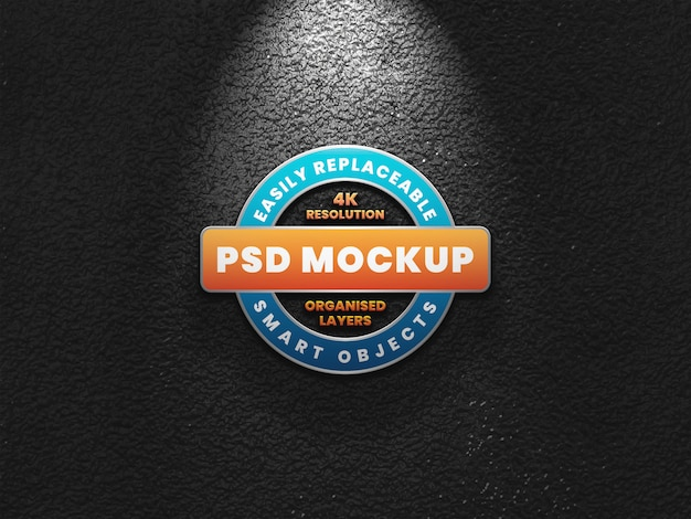 Realistic 3d logo mockup on dark wall with light effect