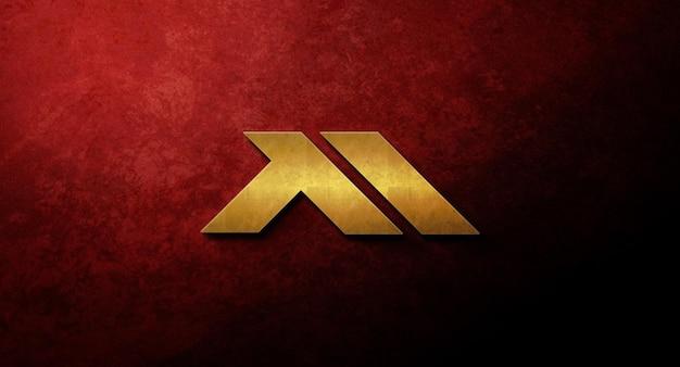 Realistic 3d logo mockup design in wall