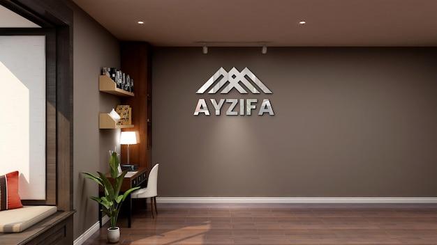Реалистичный 3d макет логотипа в классическом бизнес-зале рабочего пространства офиса