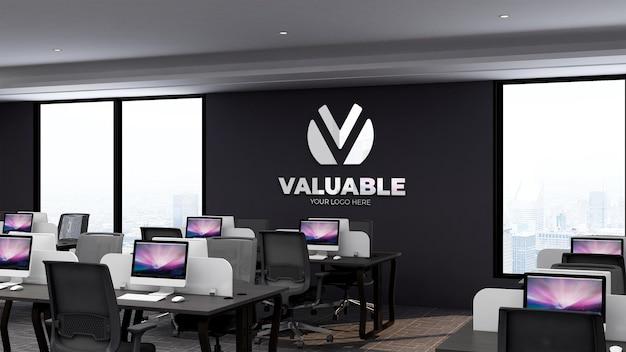 데스크톱 및 작업 장소와 사무실 비즈니스 직장에서 현실적인 3d 로고 모형