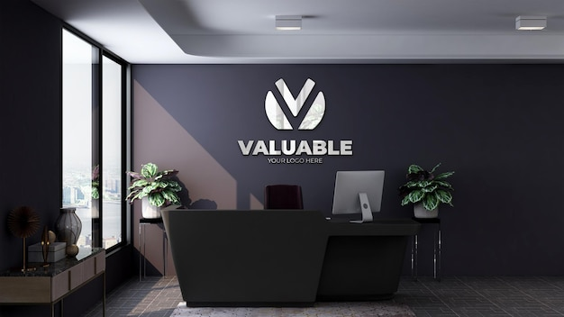 사무실 프론트 데스크 또는 접수원의 현실적인 3d 로고 모형