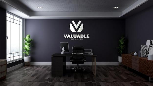 미니멀한 목재 디자인 인테리어가 있는 사무실 비즈니스 관리자 룸의 현실적인 3d 로고 모형