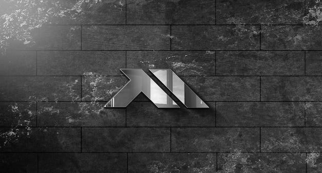 Реалистичный 3d макет логотипа в дизайне стены