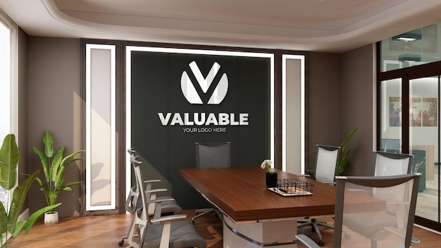 Realistic 3d logo mockup in the modern meeting room