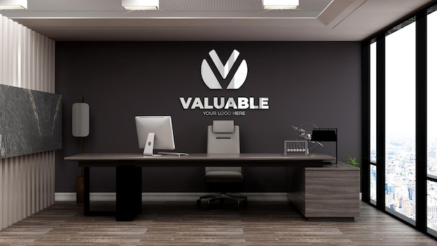Realistic 3d logo mockup in office busines manager room