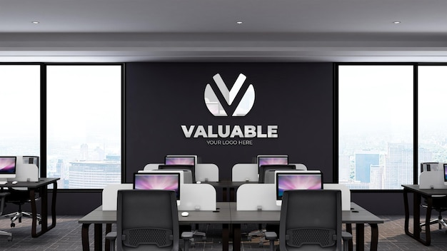 Realistic 3d logo mockup in office business workplace with desktop and working place