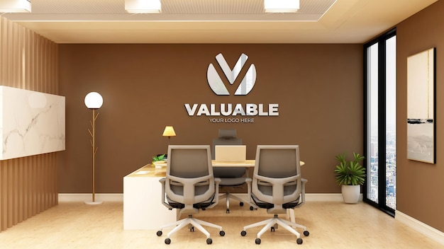 Realistic 3d logo mockup in office bussines manager room