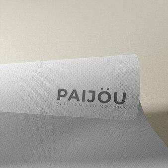 Реалистичный 3d макет логотипа на изогнутой бумаге