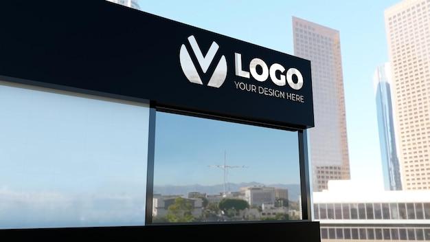 Реалистичный 3d макет логотипа на белом здании компании