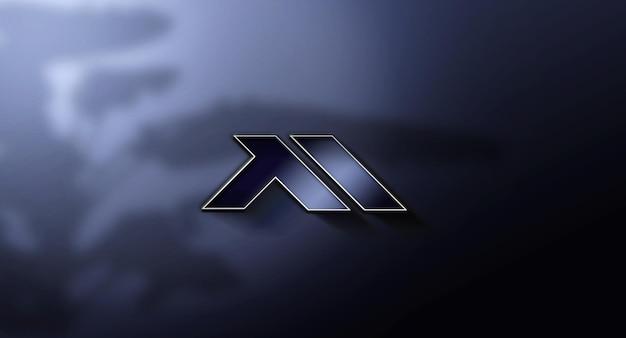 Realistic 3d logo mockup in wall design
