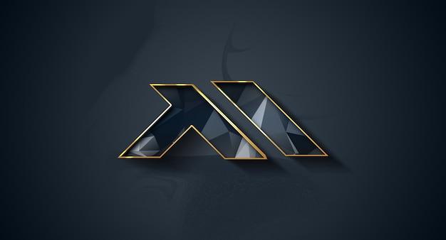 Realistic 3d logo mockup on wall
