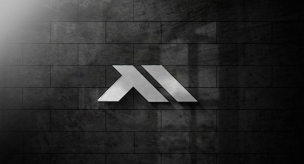 Realistic 3d logo mockup on wall