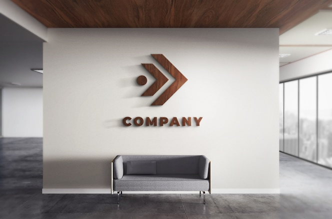 Realistic 3d logo wood mockup office wall texture