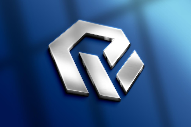 Realistic 3d metal logo mockup